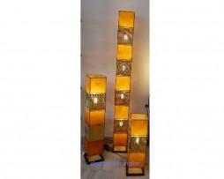 lámpara marroquí piel y cobre Magic amarilla