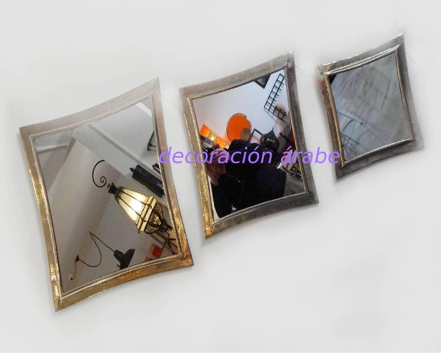 Espejos rabes ovalados plateados for Espejos dorados ovalados