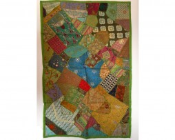 Tapiz india patchwork verde