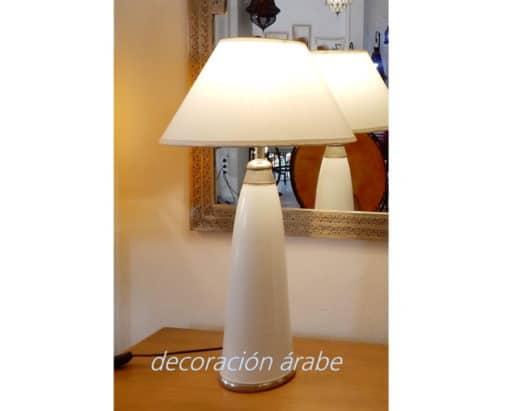 lámpara mesa marroquí blanca