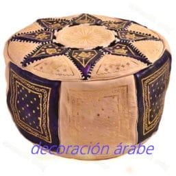 puff marroquí piel morado