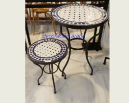 mesa árabe mosaico forja azul azul