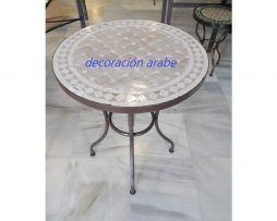 mesa árabe mosaico forja beige