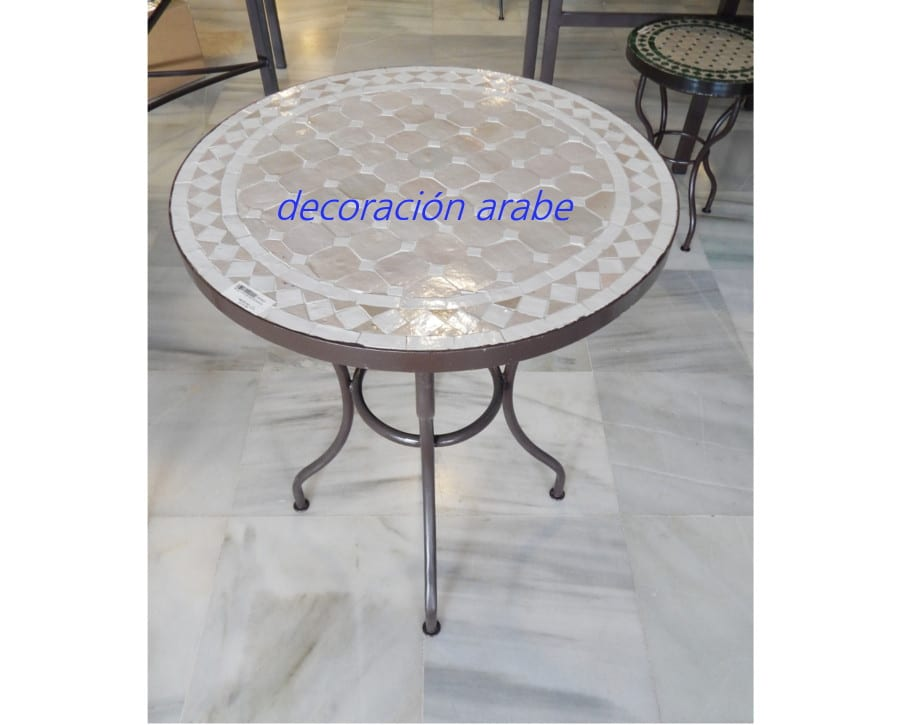 Mesas marroqu es rabesde mosaico y forja para jard n - Mesas de jardin de forja ...
