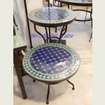 mesa árabe mosaico forja verde azul