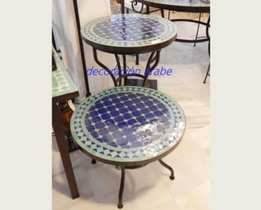 mesamarroquí mosaico forja verde azul