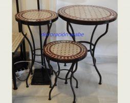 mesa árabe mosaico forja marrón