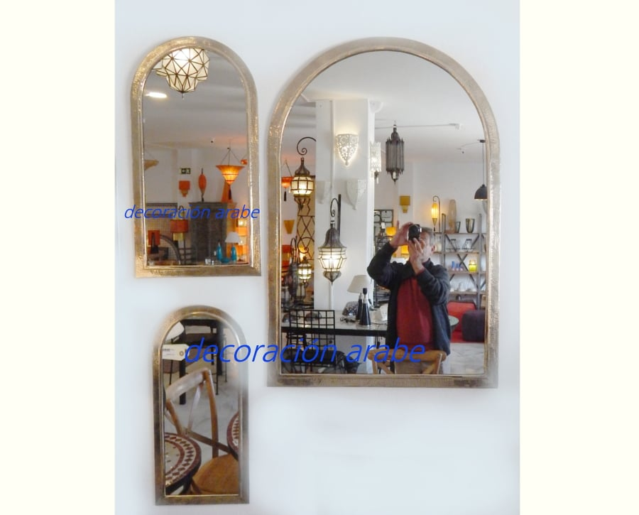 Espejos rabes arco plateado decoraci n y artesan a rabe for Espejo plateado grande