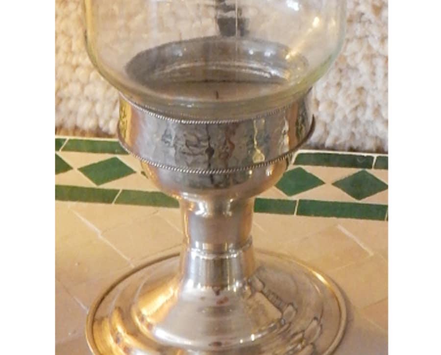 Porta velas rabe plateado y cristal - Velas y portavelas ...