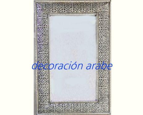 Espejo decorativo marroqu plateado for Espejo de pie plateado