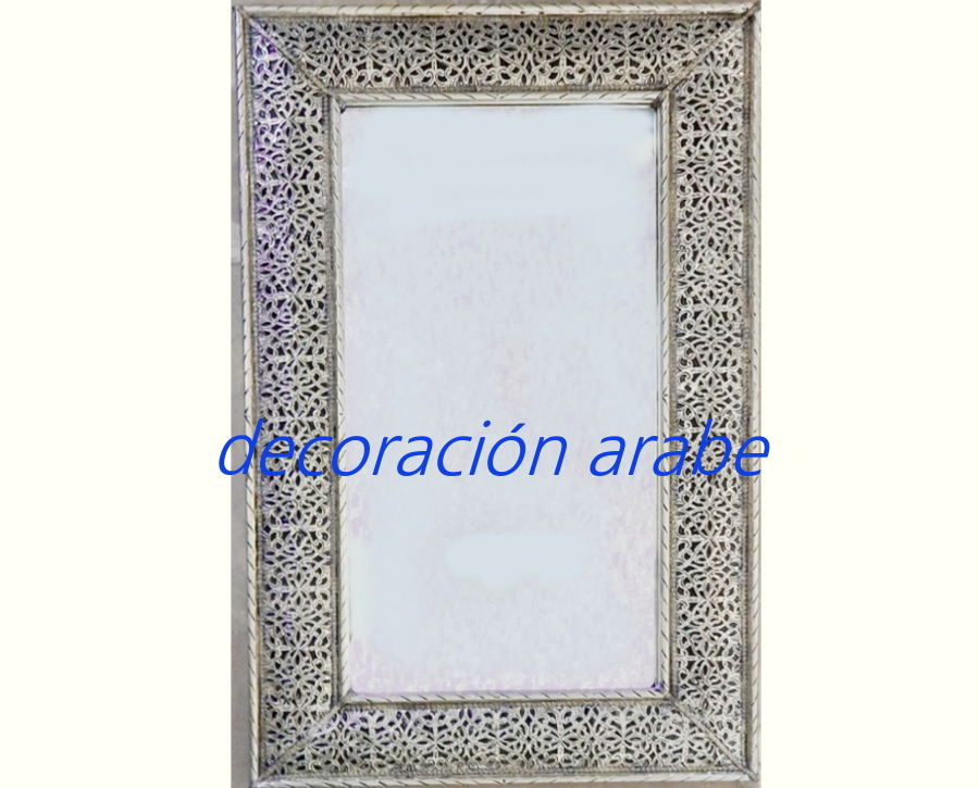 Espejo decorativo marroqu plateado for Espejo rectangular plateado