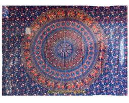 colcha india mandala azul