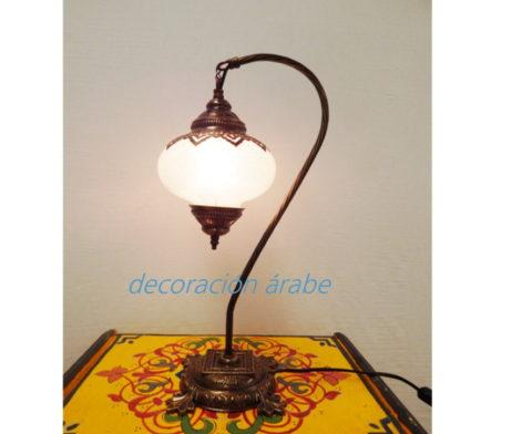 lámpara turca cristal blanco craquelado