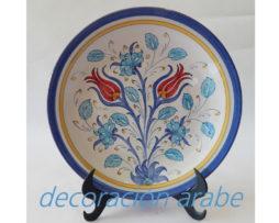 plato cerámica arabe ándaluza azul