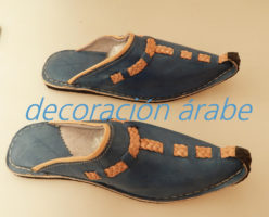 babuchas marroquíes piel azul