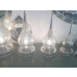 lámpara mesa gota plateada