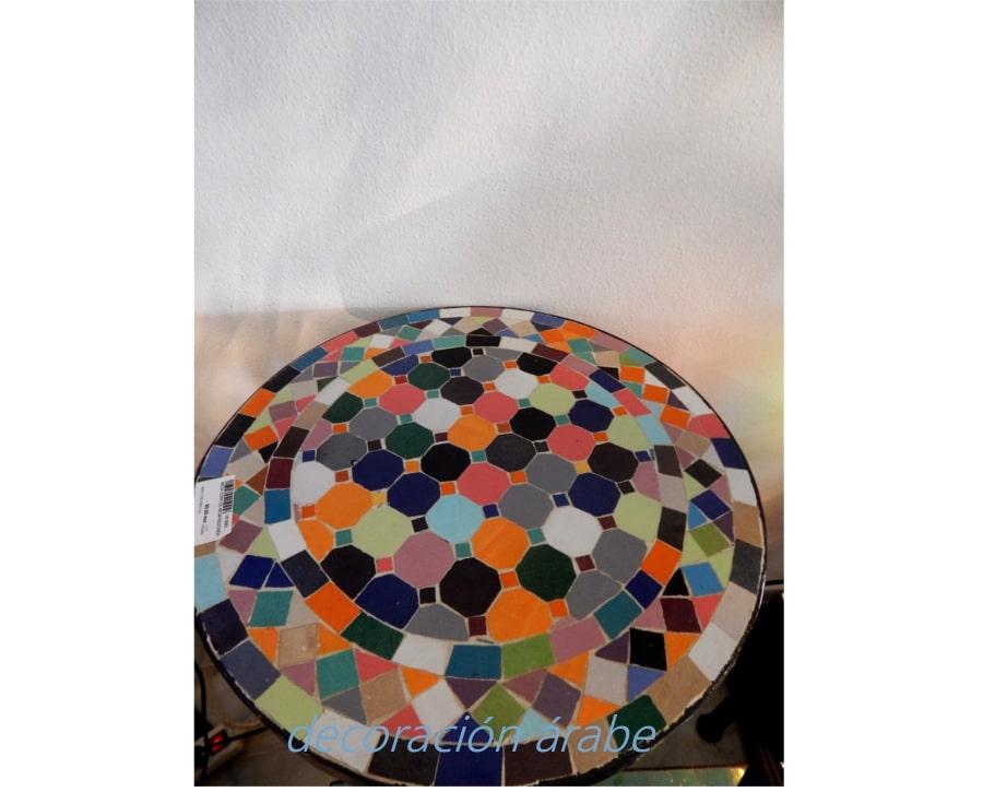 Mesa marroqu de mosaico redonda y forja multicolor for Mosaico marroqui