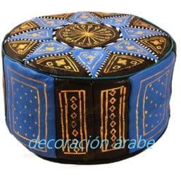 puff marroquí cuero celeste
