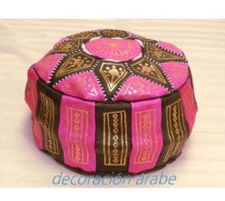 puff marroquí lila de cuero