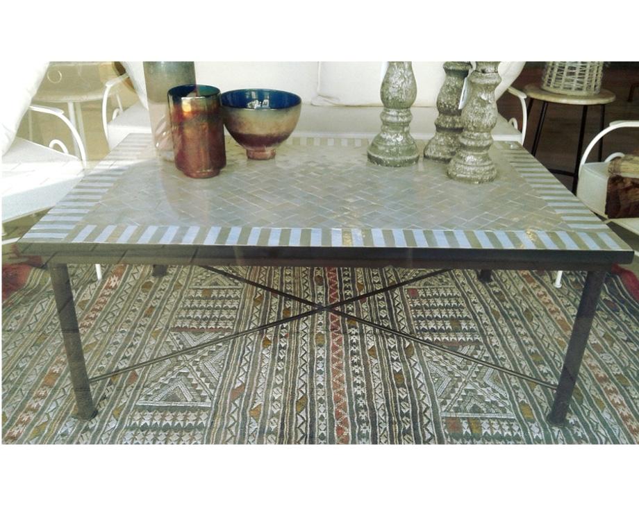 Mesa marroqu mosaico rectangular con patas de forja for Patas de forja para mesas