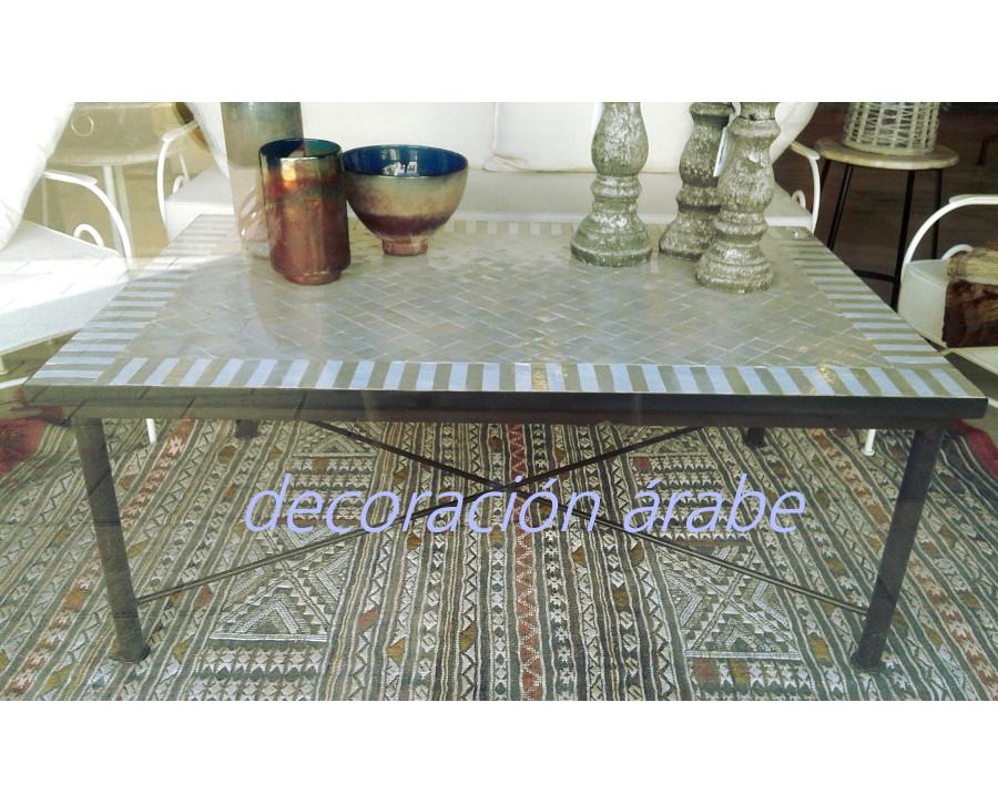 mesa marroqu mosaico rectangular con patas de forja