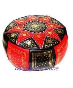 puff marroquí rojo negro