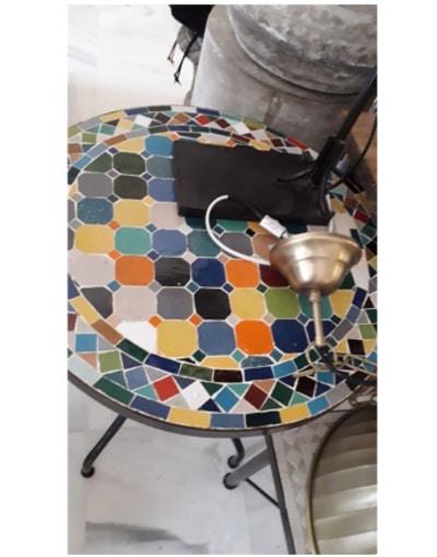mesa mosaico y forja exterior