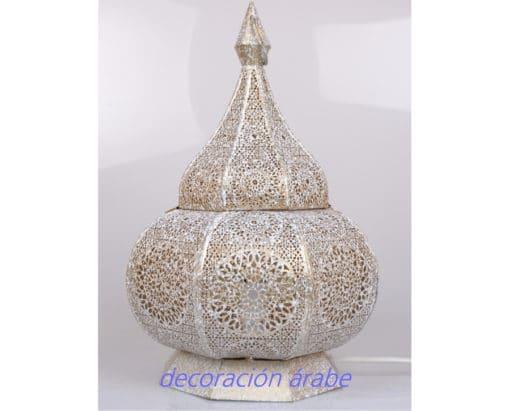 lámpara mesa india latón