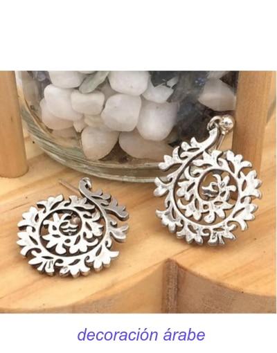 pendiente plata árabe Floral