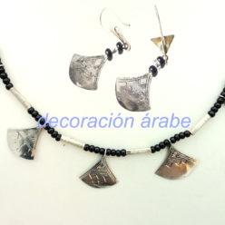 collar pendientes plata africanos
