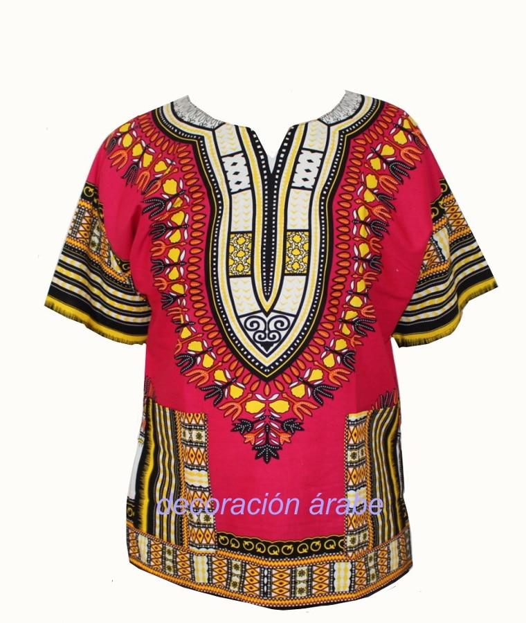 camisa africana batik roja