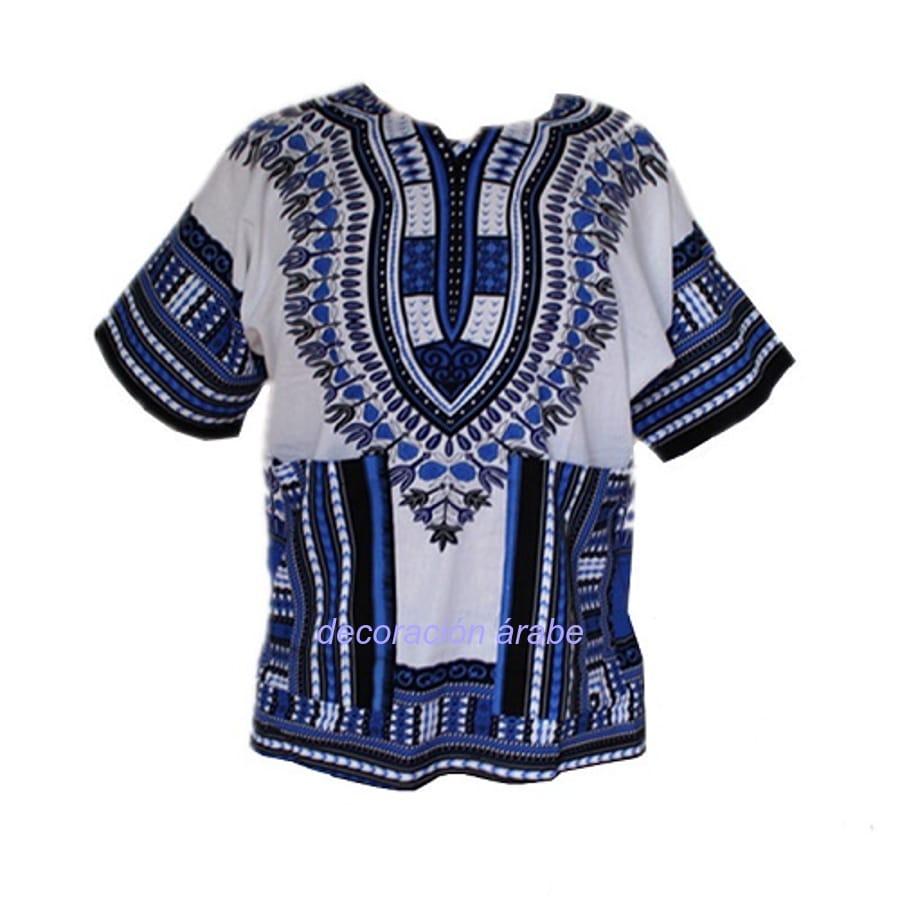 camisa batik africana azul claro