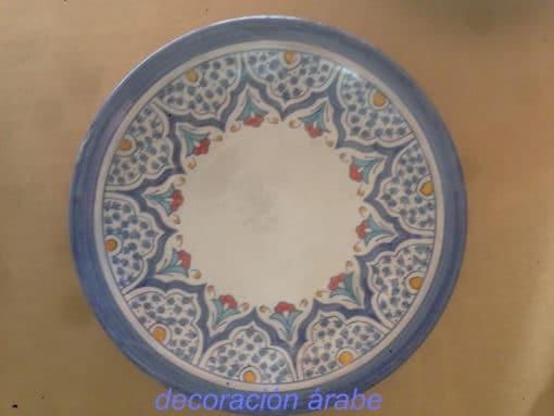 plato cerámica arabe andaluza azul