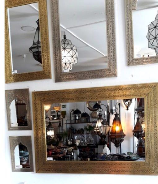 espejos marroquíes de latón dorado