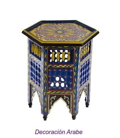 mesita de madera pintada marroquí