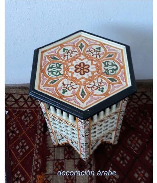 mesa árabe madera pintada