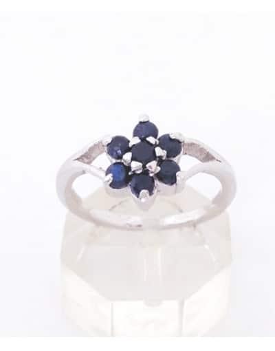 anillo zafiros y plata