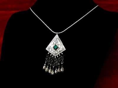 colgante étnico plata turquesa