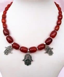 collar plata y cornalina étnico