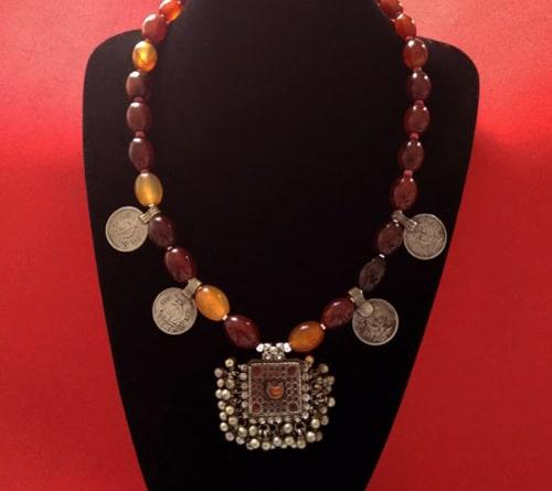 collar plata cornalina tradicional
