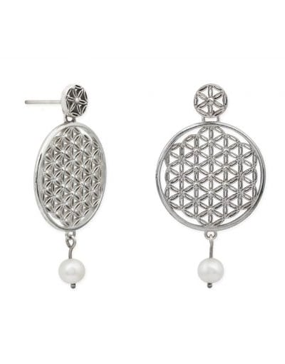 pendientes artesanales plata de ley flor