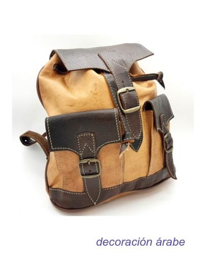 mochila cuero dos colores