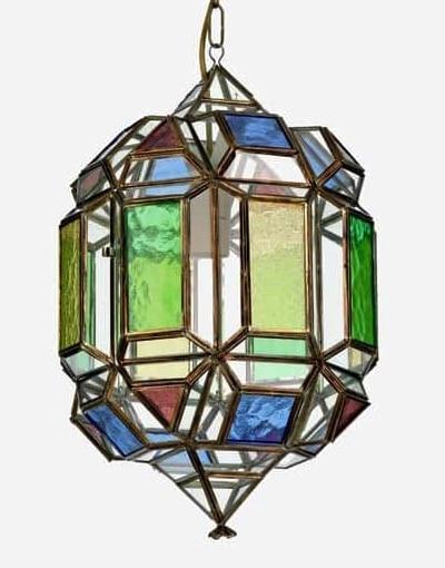 farol de granada latón y cristales de colores