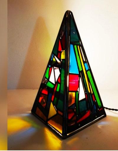 lámpara artesanal cristales Tiffany