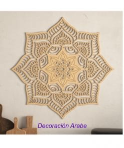 mandala decorativo floral pared de madera